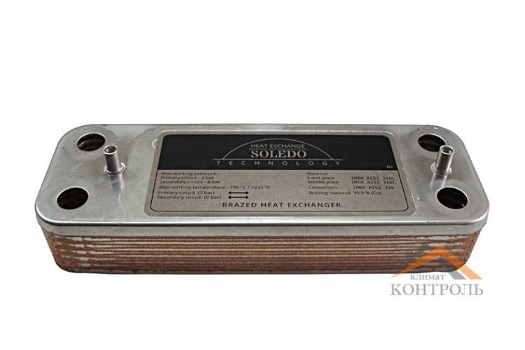 Пластинчатый теплообменник для котла Baxi, Westen 12 пластин